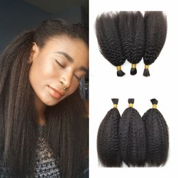 Wholesale Virgin Peruvian Straight Hair Bulk - Mongolian Kinky Straight Human Hair Bulk for Braiding Hair Virgin Mongolian Yaki Hair Extensions 8-30inch G-EASY