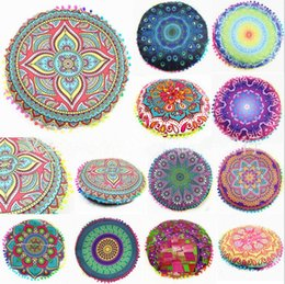 Wholesale cushion covers round - Mandala Round Cushion Pillow Cover Indian Bohemian Flowers Pillowcase 24 Styles Polyester Pillowslip Home Decoration OOA1574