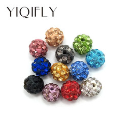 Wholesale Diy Loose Ceramic Beads - 100 pcs per lot 6mm mix colors clay shamballa crystal rhinestone loose beads for bracelet and necklace DIY free shipping