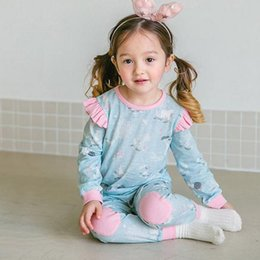 Wholesale Wholesale Character Patches - New Cute Princess Girls Sets Casual Homewear Pure Cotton Kids Pajamas Puff Long Sleeve Patch Pants Cartoon Tree Set Home Clothes Blue A6017
