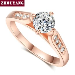 austrian crystals rings wholesale Coupons - Wholesale- Top Quality ZYR065 Classic Rose Gold Color 1ct 6mm CZ Wedding Ring Austrian Crystals Wholesale For women