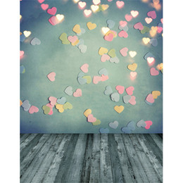 Wholesale Grey Background - Photography Backdrop Green Wall Glitter Pink Hearts Gold Lights Dots Grey Wood Floor Baby Photo Backgrounds for Studio
