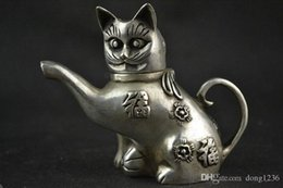 Wholesale Lighting Potted - Chinese Collectible Handwork Old Tibet silver carving cat Lucky tea pot