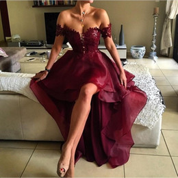 Wholesale Hi Low Prom Dresses White - 2017 Modern Hi-Low Lace Prom Dresses Off the Shoulder A line Burgundy Evening Dresses Organza Skirt Skirt Cocktail Party Dresses