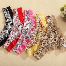 Wholesale T Shape Panties - 2016 Hot Ms. Sexy Lace T-shaped Pattern Thong Underwear Temptation Panties G-String