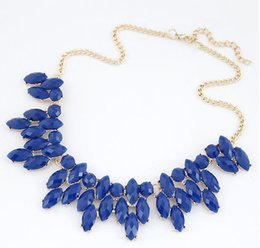 Wholesale Gemstone Statement Necklace - Wholesale-2016 Summer Style Collares Mujer Statement Necklaces & Pendants Imitated Gemstone Jewelry Collier Femme for Women Accessories