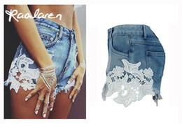 Wholesale Jeans Lace Hot Short - Raodaren 2017 Ripped Pocket Women Shorts Summer Casual Denim Pants Vintage Hot Jeans Bottoms Sexy 2017 For Ladies
