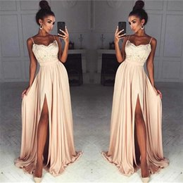 sexy stunning prom dresses Coupons - Stunning Champagne Lace Chiffon Prom Dresses Sexy Front Slit Spaghetti Straps Long Party Evening Dress Vestidos de fiesta Evening Gowns
