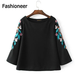 Wholesale Tops Puff Sleeves - Fashioneer Women Black Vintage Flower Embroidery Shirts Long Sleeve O Neck Elegant Blouse Ladies Floral Casual Tops Blusas