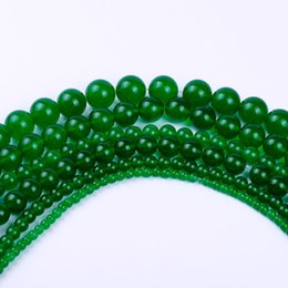 Wholesale Dark Green Natural Jade - 4,6,8,10,12 AAAA+ new fashion wholesale natural round dark green jade loose stone beads For Bracelet Necklace DIY Jewelry Making