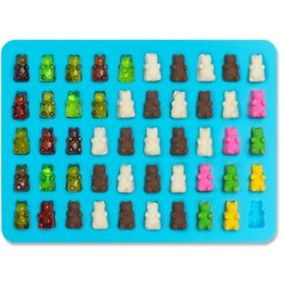 Wholesale Gummy Candies - 50 Cavity Silicone Gummy Bear Chocolate Mold Candy Maker Ice Tray Jelly Moulds with free dropper WA2536
