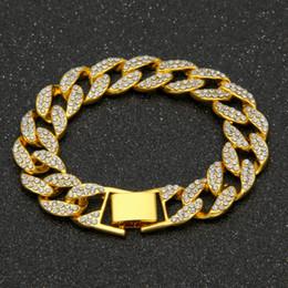 Wholesale 14k Cuban Link Bracelet - MCW Men's Luxury Rhinestone Crystal Fashion Bracelets & Bangles High Quality Gold Plated Iced Out Miami Cuban Bracelet Hip Hop Two Colors