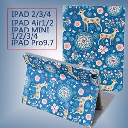 Wholesale Waterproof Skin Ipad Air - iPad Pro 9.7 Tan Leather skins cute cartoon deer Stand Flip Case Smart Cover for iPad Air Air 2 Mini 1 2 3 4 ipad 2 3 4 hot sale 2017