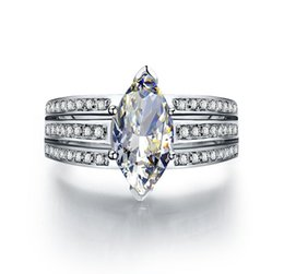 Wholesale 3ct Engagement Rings - 3CT Marquis Synthetic Diamond Engagement Ring for Women Great Quality Last Forever Jewelry