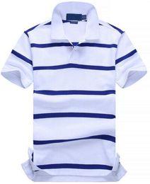 7a126afcf81e Hot Buy New POLO Shirt Men Cotton Fashion Color striped camisa polos Small  Horse Print masculina de marca Summer Casual Shirts White