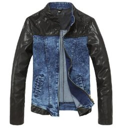 Wholesale Denim Pu Jacket - Free shipping Tide Men's clothing denim jacket patchwork PU outerwear jacket clothes M-2XL
