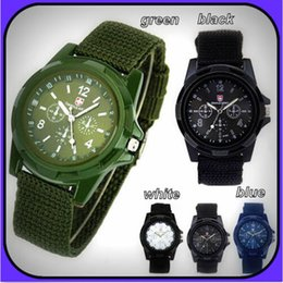 Wholesale Luxury Men Cloth Wholesale - 2017 Fashion Luxury Analog Swiss Gemius Army Cloth Fabric Wristwatches Sport Military Style Wrist Watches for Geneva quartz Men Watches