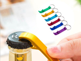 Wholesale Beverage Can Opener - 500pcs key chain metal aluminum alloy keychain ring beer Can bottle opener Openers Tool Gear Beverage