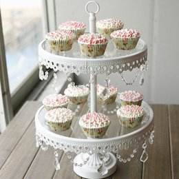 Wholesale Cookie Glass - Glass cake stand 2 tier white iron cany cookie display tray table wedding party decoration supplier baking & pastry cake tools