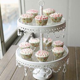 2019 bolos de casamento branco bonito Carrinho de bolo de vidro 2 camada de ferro branco cany cookie exibição bandeja de mesa decoração da festa de casamento fornecedor de ferramentas de bolo de pastelaria de cozimento