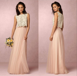 Wholesale Soft Purple Prom Dresses - 2017 Vintage Two Pieces Lace Bridesmaid Dresses Soft Tulle Floor Length Bridesmaids Maid of Honor Gowns Formal Prom Party Dresses