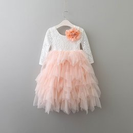 Wholesale Christmas Tutus - Retail New Girls Princess Dresses Lace Flower Tiered Tulle Maxi Dress Long Sleeve For Wedding Party Children Clothes 1-10Y E17104