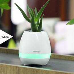 Wholesale Flower Music Box - TOKQI Bluetooth Smart Music Flower Pots Box Touch Play Flowerpot Colorful Light Long Time Play Bass Speaker Night light