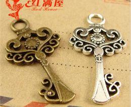 Wholesale Manufacturer Key - 33*18MM Antique Bronze Manufacturer key pendant DIY accessories wholesale tree charms, vintage metal tibetan silver plated charm