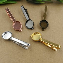 Wholesale Diy Tie Clip - BoYuTe 20Pcs Round 16mm Cabochon Base Setting 5 Colors Plated Tie Clip Blank Bezel Tray Diy Jewelry Findings