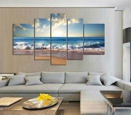 Wholesale Oil Painting 5pcs - 5pcs set Unframed Beach Waves Sunrise Seascape Painting Wall Art Oil Painting On Canvas Textured Picture Living Room Home Decor