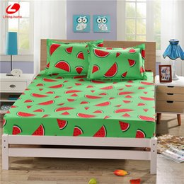 Wholesale Elastic Beds - Wholesale- Lifeng home fitted sheet with elastic 3pcs set summer bed sheet 180*200cm bed cover fruit mattress cover watermolen bedclothes