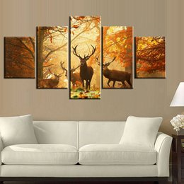 Wholesale Framed Wall Decor Sets - 5pcs set Sunset Golden Deer Wall Art Oil Painting On Canvas (No Frame) Animal Impressionist Paintings Picture Living Room Decor