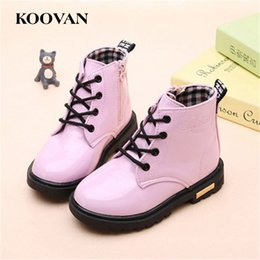 Wholesale Ankle Boots 12 - Martin Boots Ankle Boots 2017 Koovan 4 Color Patent Leather Autumn Boy Girl Big Kids Shoes High Quality Performance Shoes Wholesale K 049