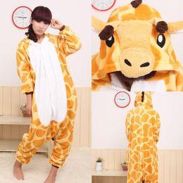 Wholesale Giraffe Onesies Costumes - Cute Giraffe Kigurumi Pajamas Animal Suits Cosplay Halloween Costume Adult Garment Cartoon Jumpsuits Unisex Animal Sleepwear