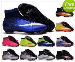 Wholesale Style Leather Mens Boot - NEW style football shoes cleats for free Mercurial Superfly TF high top soccer cleats 38-46 CR7 soccer shoes boots mens sports futbol shoe