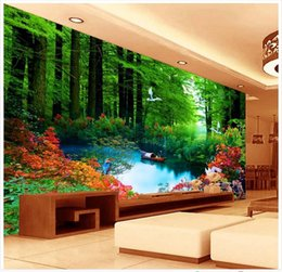 Wholesale Country Kitchen Sets - High Quality Custom 3d photo wallpaper murals wall paper TV setting wall landscape trees TV setting wall decoration living room wallpaper