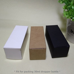 Wholesale Black Kraft - 100pcs- 3.6*3.6*10.5cm Black White Kraft paper Box 30ml Dropper Essential oil lotion bottle sprays cosmetics gift boxes