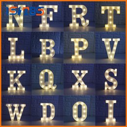Wholesale Bedroom Wall Sign - 26 Letters White LED Night Light Marquee Sign Alphabet Lamp For Birthday Wedding Party Bedroom Wall Hanging Decor