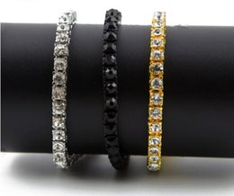 "Wholesale Wholesale Mens Diamond Bracelets - 2017 super cool mens Iced Out 1 Row Rhinestones Bracelet Men's Hip Hop Style Clear Simulated Diamond 8"" Bracelet Bling Bling club star"