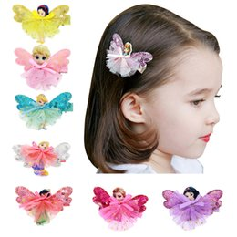Wholesale Hair Accessories Hairpin Butterfly - DIY Butterfly hair Accessory clips Baby girl Ribbon Frozen Hair Clip Barrettes Ribbon Lined Alligator Sequin Hair Clips