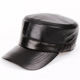 Wholesale Wholesale Biker Caps - Wholesale- 2014 men Genuine leather Baseball Cap Biker Trucker outdoor Sports snapback Hats For Army hat wholesale