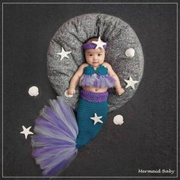 Wholesale Handmade Baby Costumes - Lace Mermaid Newborn Baby Photo Photography Props Infant Handmade Outfits Crochet Knit Cocoon Set Knitted baby Costume