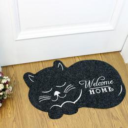 Wholesale Welcome Doormat - cute cat shape welcome home Floor Mat Anti-slip Floor Kitchen Carpet Toilet Tapete Absorption Non-slip Rug Porch Doormat 40*60cm free ship