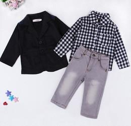 Wholesale Handsome Black Baby Boy - EuropeStyle Handsome Children Set Baby Boys Clothes Black Coat +Plaid Shirt+Jeans 3pc Summer Child Kids Costume For Boys B4737