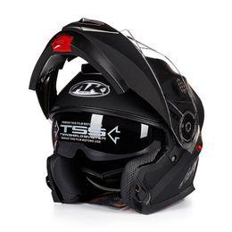 Wholesale pink full face helmets - New Arrivals AK moto Flip Up Motorcycle Helmet Modular With Inner Sun Visor safety Helmet double lens racing casco capacete