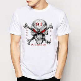 Wholesale Rock Roll Shirts - 2017 Brand Vintage Retro Cool Rock Roll Punk Tops Tees Support 81 Big Red Machine Hells Mens Fashion Print Crew Neck T-Shirts