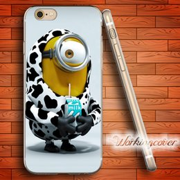 Wholesale Minions Iphone 4s Cases - Fundas Minion Milk Soft Clear TPU Case for iPhone 6 6S 7 Plus 5S SE 5 5C 4S 4 Case Silicone Cover.