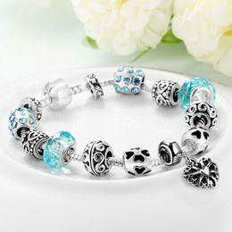 Wholesale Onyx Bangle Bracelet - Bottom Price Promotion 2 Weeks LZESHINE Antique Silver Original Women Glass Charm Bracelet & Bangle Fit Charm Bracelet