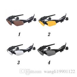 Wholesale Glass Mp3 Colors - Smart Glasses Bluetooth V4.1 Sunglass 4 colors Sun Glass Sports Headset MP3 Player Bluetooth Phone Wireless Earphones Bluetooth Eyeglasses