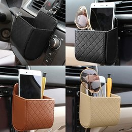 Wholesale Air Dolls - PU Leather Car Outlet Air Vent Trash Box Auto Mobile Phone Holder Bag Pouch Organizer Hanging Box for Car Supplies Car Styling